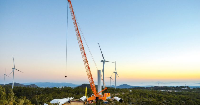 With the recent lifting of the final turbine, Windhoist have completed work on the 180MW MountEmerald wind farm, having successfully raised and installed 16 Vestas V112 x 84mhh and37 V112 x 90mhh wind turbines onthe Far North Queensland wind farm project.