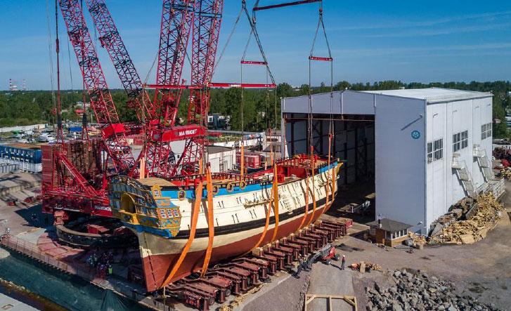 Mammoet launches Russian battleship replica
