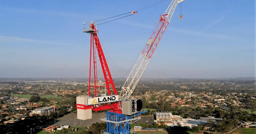 Australian tower crane specialist Strictly Cranes used a 350-tonne capacity mobile crane to dismantle a 100m-high Raimondi LR213 luffing jib crane belonging to developer-builder Aland.