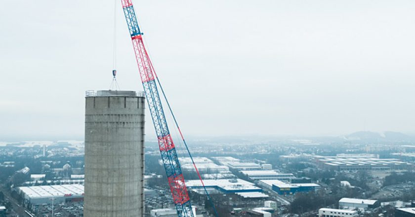 A Demag AC 500-8 all-terrain crane has lifted a 19-tonne chimney liner into place, 119 metres above ground in a job where each centimetre mattered.
