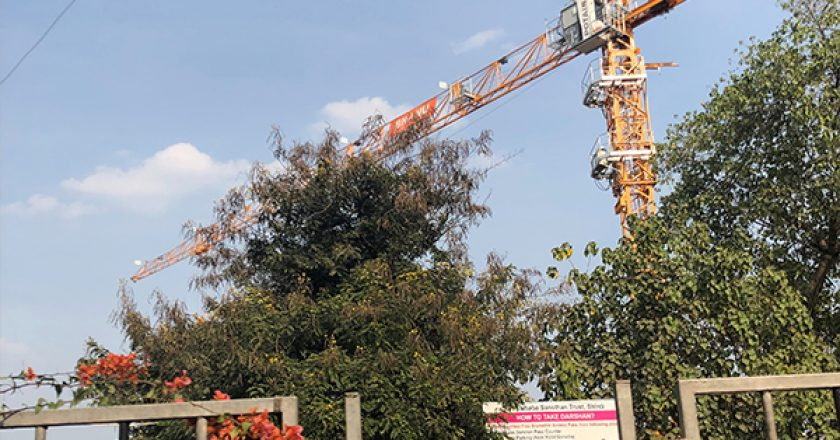 Bhanu Construction, a Mumbai-based construction company, is using a Potain MCT 85 crane to ensure the construction of the new temple in the town of Shirdi, India, is done on time.