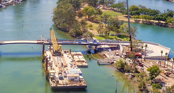 The final girder on the $19.5 million Green Bridge project has been lifted into place for the City of Gold Coast.