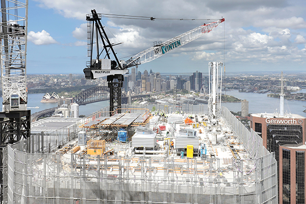 Multiplex has celebrated the topping out of a $1.2 billion commercial office building in North Sydney, now the tallest building in the region.