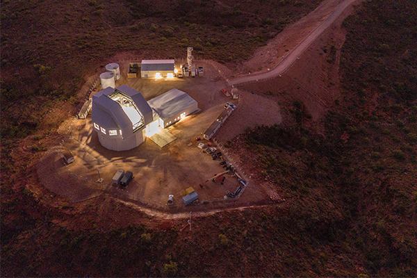 Two cranes are helping install a $97.2 million Australian space surveillance telescope project in Exmouth, Western Australia.