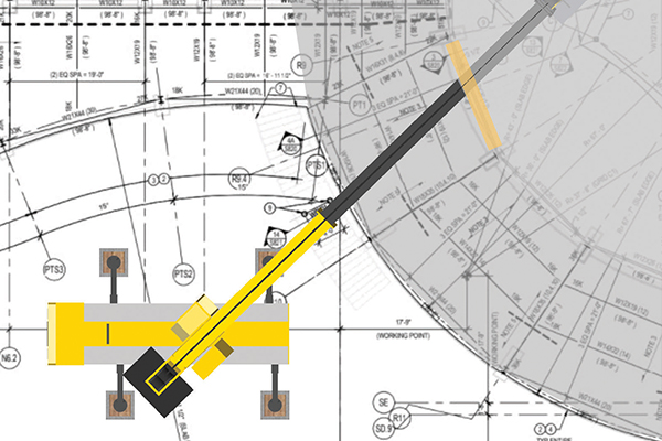 3D Lift plan helps structural steel erection company plan a complex lift and chose the right crane for the job. Cranes and Lifting explains.