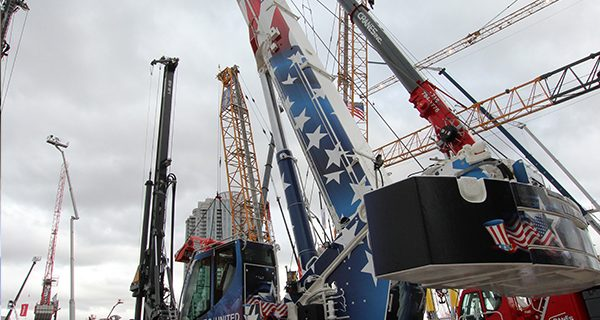 "Liebherr unveiled its new LTM 1120-4.1, the most powerful four-axle all-terrain crane the manufacturer has ever built, during ConExpo using the slogan ""There's nothing more on four."""