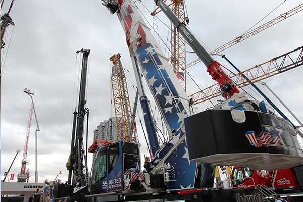 """Liebherr unveiled its new LTM 1120-4.1, the most powerful four-axle all-terrain crane the manufacturer has ever built, during ConExpo using the slogan """"There's nothing more on four."""""""