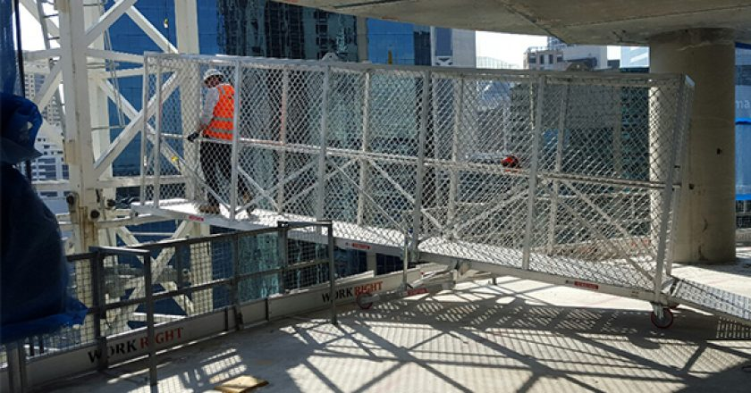 Lendlease has recently implemented a new system that allows for safe and convenient access to crane towers from the sides of a building at Sydney's Barangaroo precinct.