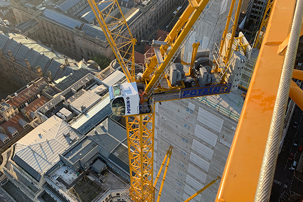 Two Potain MR 295 luffing jib cranes are helping build one of the largest office towers in Birmingham, England.