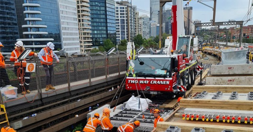 Late January saw the first trains run over a new concrete deck on the Sydney Harbour Bridge.